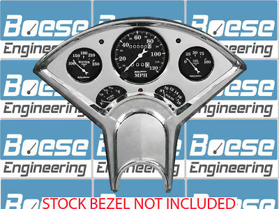 55 56 Chevy Billet Aluminum Gauge Panel Insert w/ Auto Meter Old Tyme Black Dash