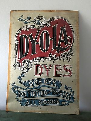 Antique Vintage Dyola Dyes Sewing Dyeing Sign Tin Spool Cabinet Sign Thread