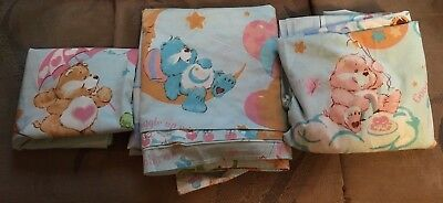Care Bear Full Sheet Set Vintage 1982 + 2 Pillow Cases. Excellent Condition