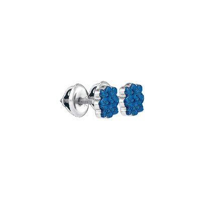 Sterling Silver Round Blue Colored Diamond Cluster Stud Earrings 1/20 Ctw