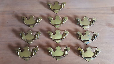 "(10)19th Century Antique Chippendale Brass Bail Pull Handles 3"" Center To Center"