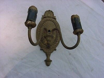 Antique Ornate Victorian Solid Brass  Wall Sconce  Double Arm Lamp Sea Shell