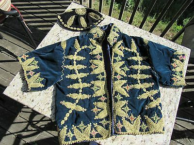 Original Antique Chinese Jacket & Cap For Small Child Gold Embroidered Trim