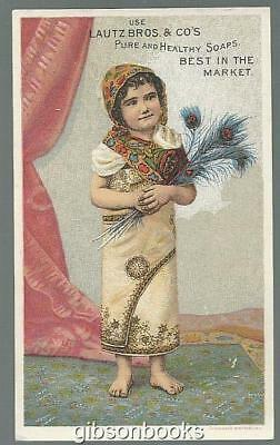 Victorian Trade Card for Lautz Bros. Soaps with Native Girl Peacock Feathers