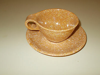 2 pc Russel Wright Residential Melmac Dishes in Gold Confetti