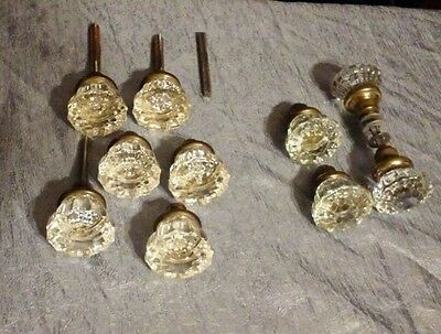 Antique Glass 12 Point with Brass Door Knobs Lot 9 +1 Unique