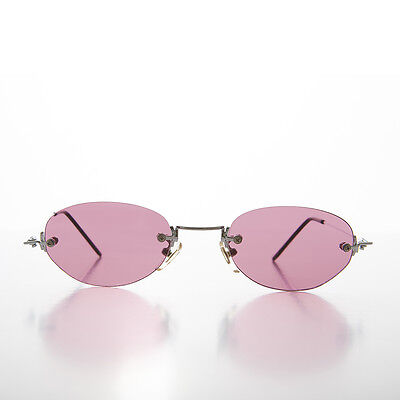 Oval Pink Colored Rimless Lens Vintage Sunglasses With Silver Frame - Pepper