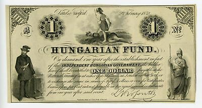 1852 $1 Hungarian Fund - NEW YORK Note UNC