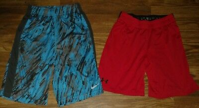 Boys (Ylg) Nice- Lot Of 2- Nike Dri Fit & Under Armour- Athletic Shorts