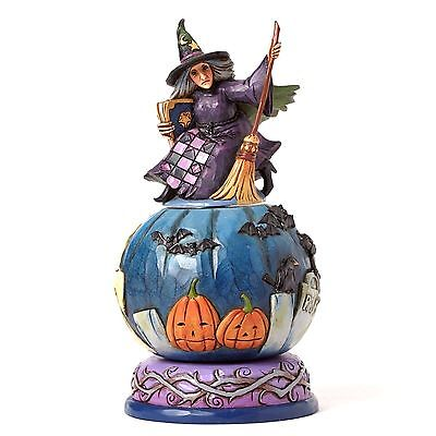 Jim Shore~Witch With Rotatable Scene~Mischief Is A-Brewing~4051547~Halloween