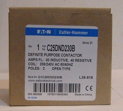 Definite Purpose Contactor 30 FLA  2 Pole Open 208/240 Volt Coil Cutler-Hammer