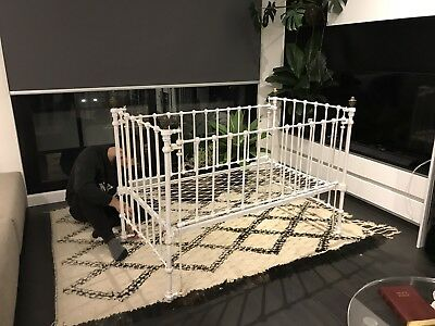VINTAGE / ANTIQUE French provincial brass / wrought iron white cot