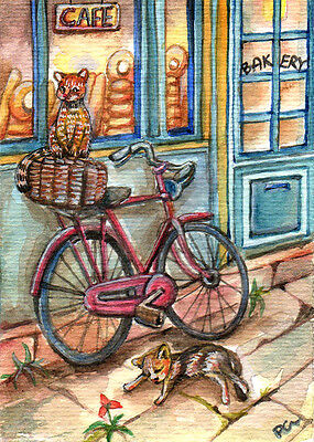 """ACEO Original Watercolour Painting """" Cats in Front of Bakery """" by Patricia"""