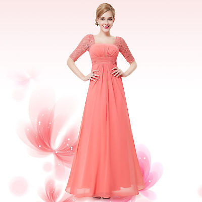 Elegant Long Lace Floral Evening Party Cocktail Bridesmaid Wedding Formal Dress
