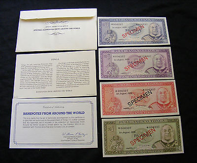 TONGA specimen set 4  uncirculated banknotes, 006337. Franklin mint,FREE POST.
