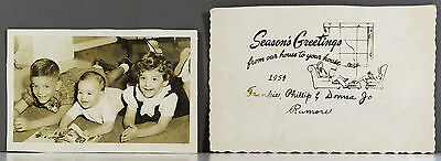1954 WVOK Radio Partial Christmas Card - Joe Rumore Family - Birmingham, Alabama
