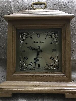 Daniel Dakota Light Oak Wooden Mantle Clock Battery Operated Quartz
