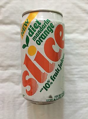 Vintage 1980s  Diet Slice Mandarin Orange Soda Pop Can - 12oz Never Opened RARE!