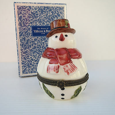 Boxed Villeroy & Boch, Christmas Trinket Box, Snowman, Gift, Perfect Condition