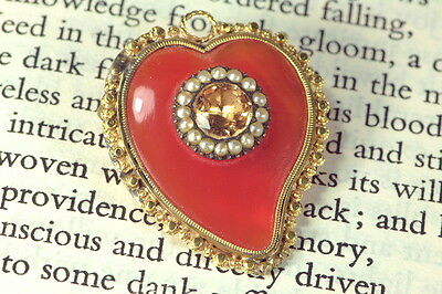 Antique Georgian English 15K Gold Carnelian Topaz Witch's Heart Brooch Pendant