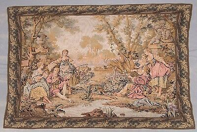 Large Silk Lined Antique Tapestry – Wall Hanging – Fishing Scene LotJW3