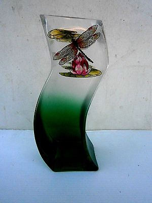BEAUTIFUL  STYLE  DRAGON  FLY  GLASS  VASE     21cm.
