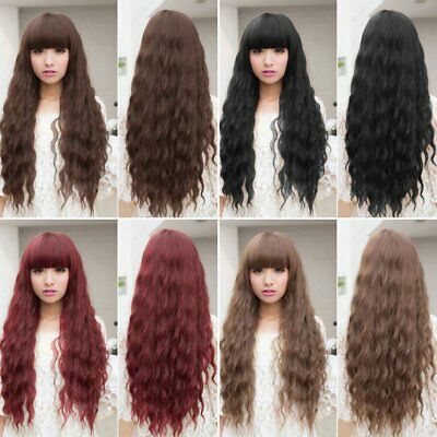 Womens Cosplay Wig Long Wavy Curly Ombre Red Hair Costume Party Lolita Full  CJ