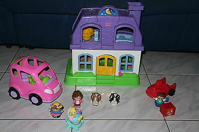 Fisher Price Little People House With Sounds + Van + People +