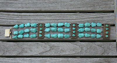 Antiques Chinese Silver Turquoise Bracelet