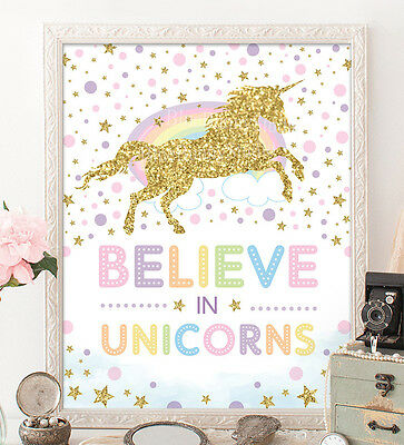 A4 Rainbow Unicorn Nursery Print Magical Pink Gold Confetti Wall Decor UNFRAMED