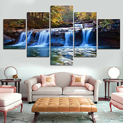 5 PCS/SET UNFRAMED WATERFALL WALL ART PICTURES FOR LIVING ROOM HOME DECOR gnn2