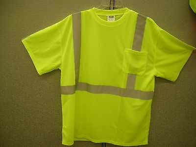 """Saftey Lime Green Reflective Tee Shirt  Class 2  100 % Polyester  2"""" Reflective"""