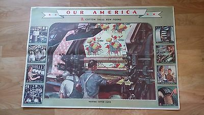 Vintage 1942 Coca Cola Our America Poster Cotton Takes New Forms No. 3