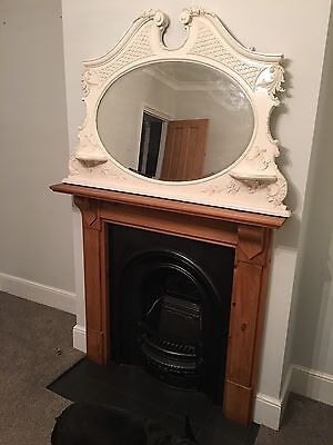 Beautiful Antique Mirror In Vintage Ivory