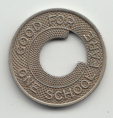 Municipal Railway Good For One School Fare transit token Fort Collins CO CO340A