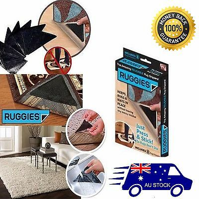 4 x RUGGIES RUG Miracle GRIPPERS THE AMAZING REUSABLE RUG GRIPPERS AS SEEN ON TV