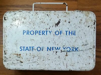 Vintage Property State Of New York Metal First Aid Kit