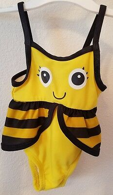 Newborn size 0-3 months bumblebee bathing suit black and yellow- girl