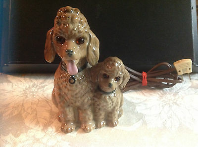 Vintage Poodle Pair Electric Night Light TV Cute Retro