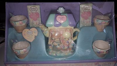 2002 Precious Moments Flower Shop Tea Set New In Box Complete