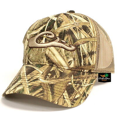 9504cdf49e4 Drake Waterfowl Camo Mesh Back Ball Cap Hat Raised Logo Shadow Grass Blades  Camo