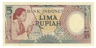 1958 Indonesia 5 Rupiah Currency Note - UNC Condition -Excellent! (UU148)