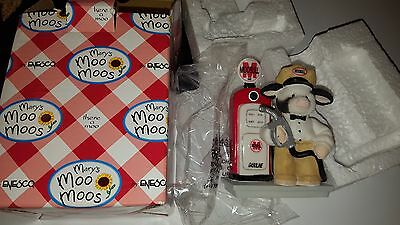 """NEW Mary's  Moo Moos Enesco Figurine """" You Fill My Tank With Love"""" Gas Station"""