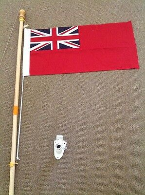 Red Ensign and wooden pole UK Manufactured MOD Woven Polyester
