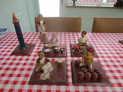 """5 Vintage Indian tradesmen figures + mosque, hand painted Balsa Wood- Base 5""""x4"""""""