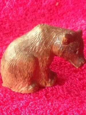 Vintage Carved Black Forest Style Wooden Bear