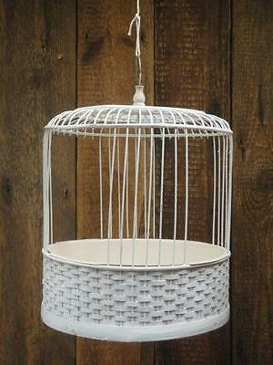 Bird Cage Style Floral Display Hanging Basket Wicker & Wooden Cage Plastic Bowl