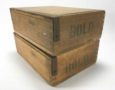 """2 Vintage Antique Wooden Wood Hinged Tobacco Cigar Packer Box Lot 7""""x 9"""" Rustic"""