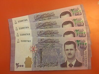 4X Syria 2017 New Release Banknote 2000 Livres UNC Inflation War Issue President