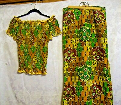 Vintage Handmade in Africa Ruffled Bouse with Skirt~Great Graphics!